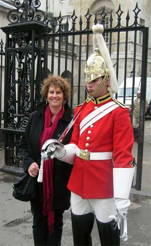 Carol with one of the Queen's Guards