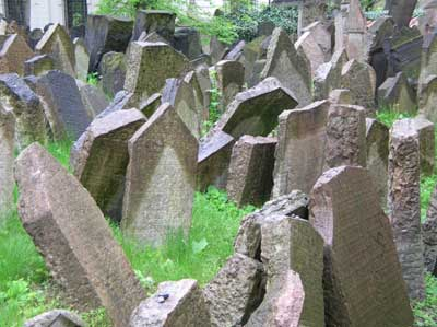 Ancient tombstones in the cemetery in the Jewish Quarter in Prague