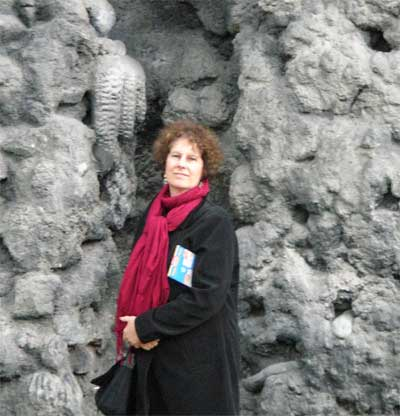 Carol near the man-made stalagtites at the Wallenstein Palace