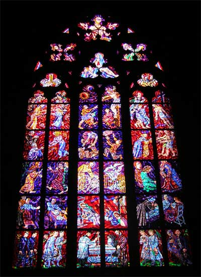 One of the beautiful stained glass windows at the Cathedral of St. Vitus