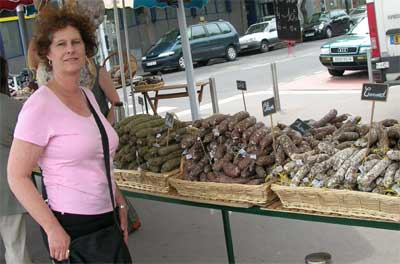 Carol at the market in Caen