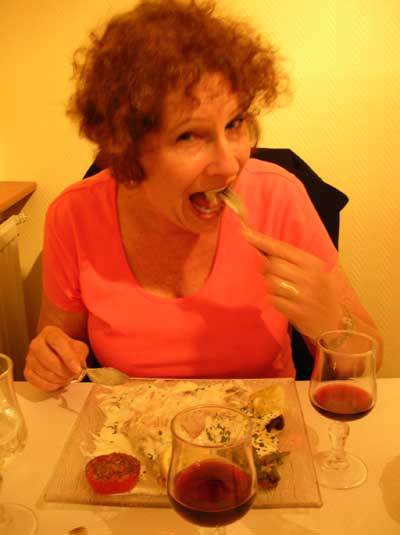 Carol enjoying the fare at La Petite Nourmand