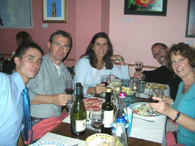 Dinner with our friends Riccardo, Giuseppe (Beppe) and beautiful Eleni