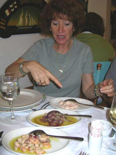 Muriel points out the many dishes we enjoyed at Ciak