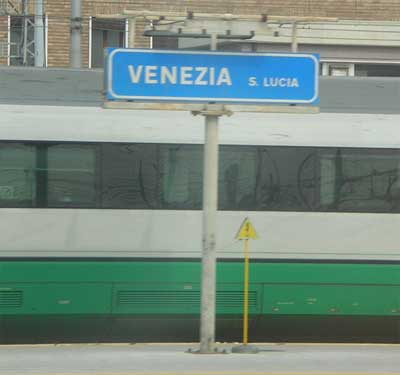 Pulling into Venice's Santa Lucia train station