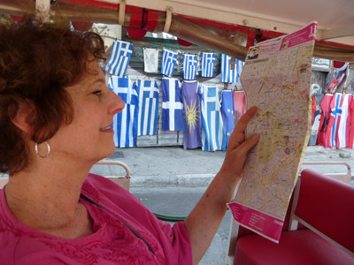 Carol checks the map on the Athens Happy Train