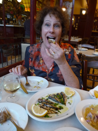 Carol enjoys dinner at Café Abyssinia