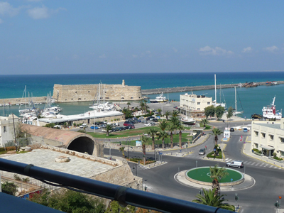 Our view of the old harbor from our room at the Marin Dream in Heraklion