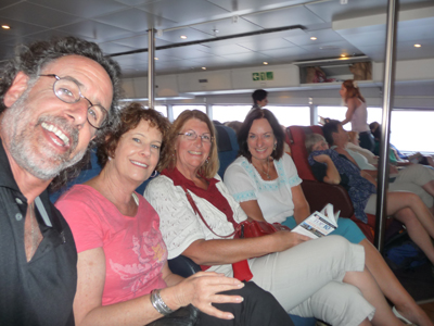 With Robin and Jan on the boat from Heraklion to Santorini
