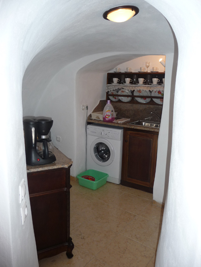 Our laundry room and kitchen area at our cave house at Lithes Traditional Homes on Santorini