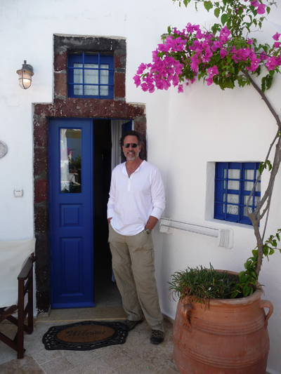 David at the entrance to our cave house at Lithes Traditional Homes on Santorini