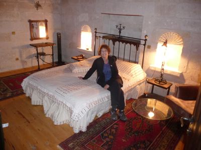 Carol settle in at the Aydinli Cave House Hotel