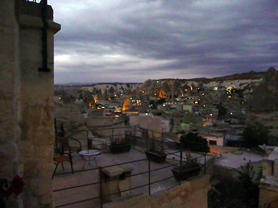 View of Goreme at dusk