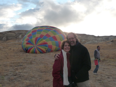 Getting ready to board our hot-air balloon on a cold morning in Cappadocia, Turkey