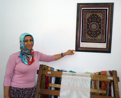 Saliha displays her art