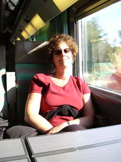 Carol snoozes on the train to Arles