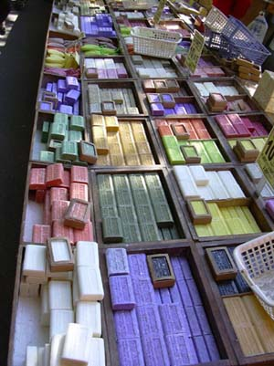 Many kinds of soap at the market in Arles