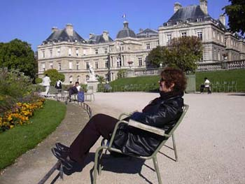Carol enjoying the sun at the Luxembourg Gardens
