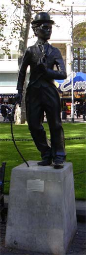 Charlie Chaplin looks over Leicester Square