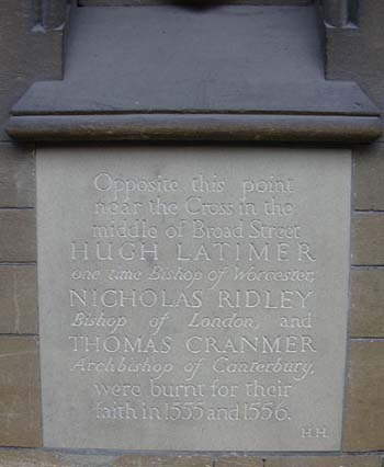 Oxford memorial to Latimer, Ridley and Cranmer, who were burned at the stake for their religious beliefs