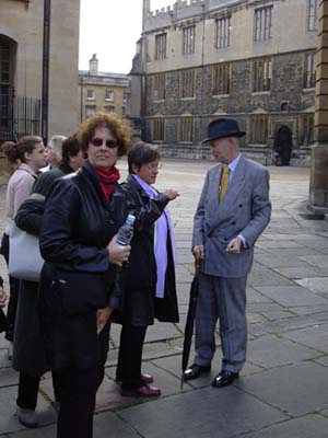 James leads the gourp at Oxford.  Carol with her omnipresent water bottle.