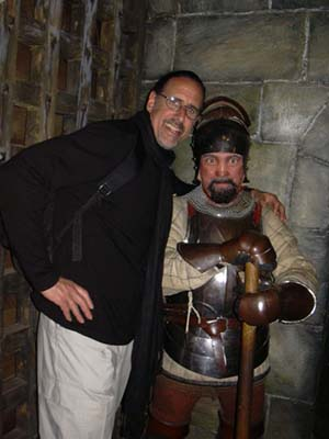David and wax friend at Warwick Castle