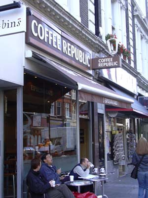 The Coffee Republic - great coffee and muffins here...