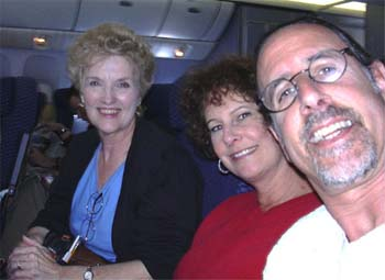 Clara, Carol and David en route to Houston