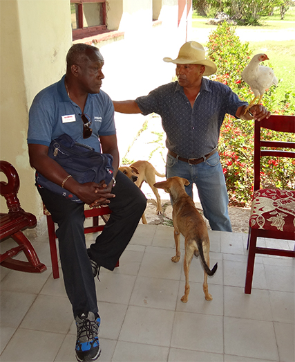 Ramiro, our terrific Cuban guide, with the manager of King Ranch