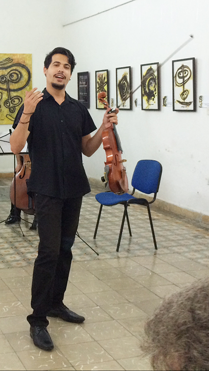 Talented young violinist in Cienfuegos