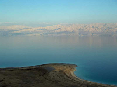 The Dead Sea - we are looking east to the mountains of Jordan and Syria