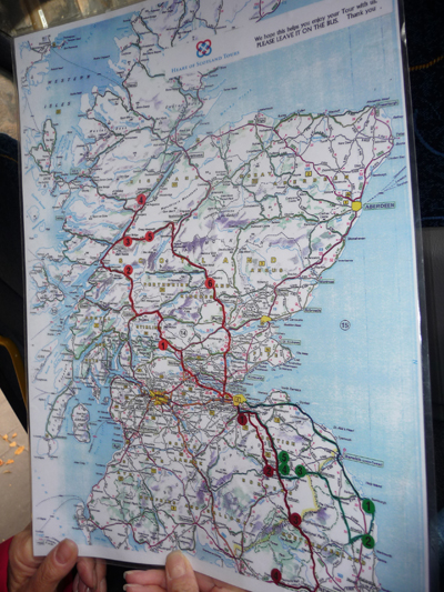 Our handy map of our route on our Scottish castle tour
