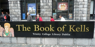 Entrance to the Book of Kells at Trinity College in Dublin