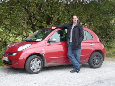 David with our terrific little Nissan Micra