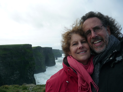 Carol and David with the Cliffs of Moher in the background