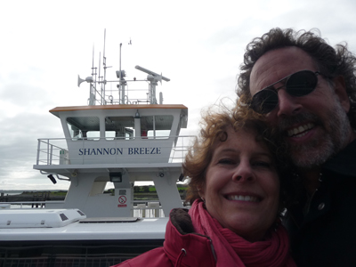 Carol and David on the Shannon Breeze, the ferry across the Shannon River