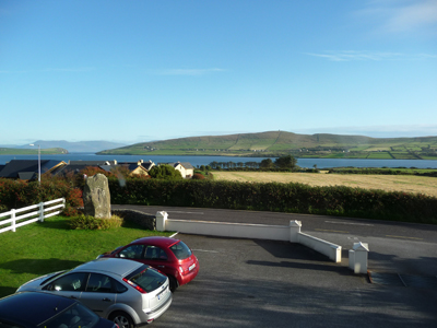 The view from our bedroom window at the Milestone B&B in Dingle