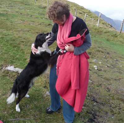 Carol makes a new friend at the top of the Conor Pass near Dingle