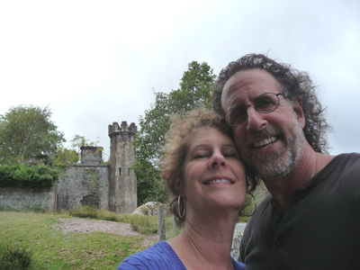 Carol and David near the ruins of a castle between Muckross House and Kenmare