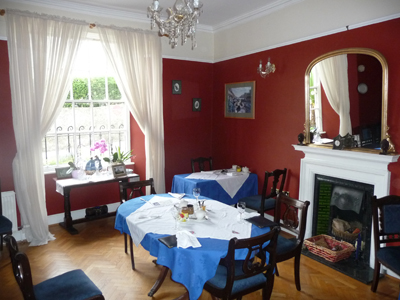 The lovely dining room at The Desmond House B&B in Kinsale