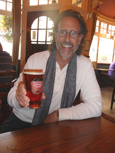 David enjoys a pint of London Pride Ale at The Carpenter's Arms pub in Windor