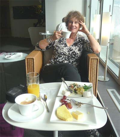 Carol enjoys breakast in the Continental Lounge at Heathrow