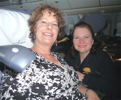 Carol with Sheryl, our fabulous flight attendant