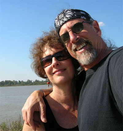 Carol and David along the banks of the Mississippi River