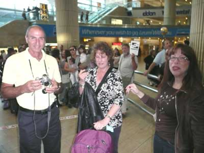 Shlomo, Carol (in tears) and Meira at Ben Gurion Airport