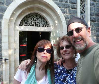 Meira, Carol and David at the Sea of Galilee