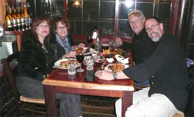 The four of us at dinner on a kibbutz high in the Golan