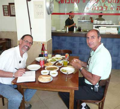David and Shlomo enjoying lunch in Jaffa