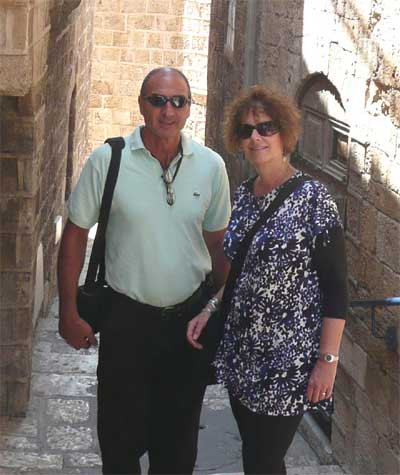 Shlomo and Carol on the back streets of Old Jaffa