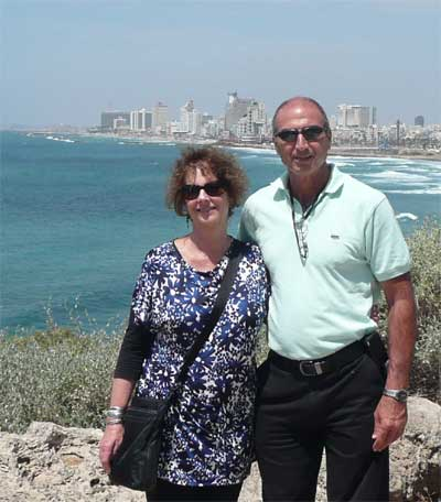 Carol and Shlomo in Jaffa with Tel Aviv in the background
